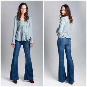 FREE PEOPLE Midrise Denim Tencel Flare Jeans Tall